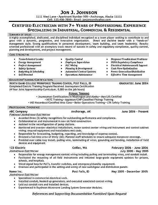Resume Example. Electrician Resume