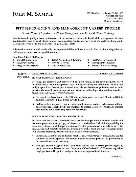 fitness trainer resume example page 1