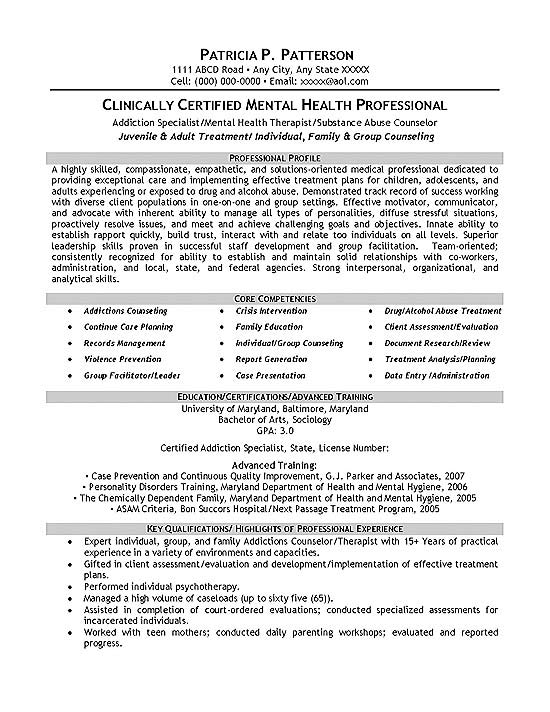 counselor resume example mental health counselor resume objective - Health Resume Examples