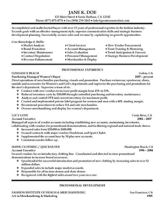 Purchasing Resume Example