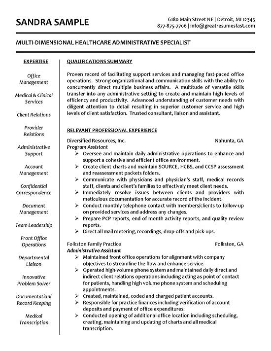 healthcare resume example sample