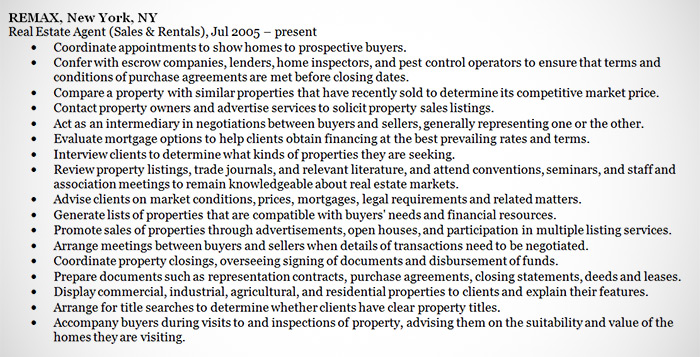 real estate agent resume statements in experience section