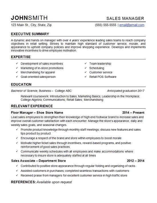 Retail Store Manager Resume. Retail Manager Resume Example