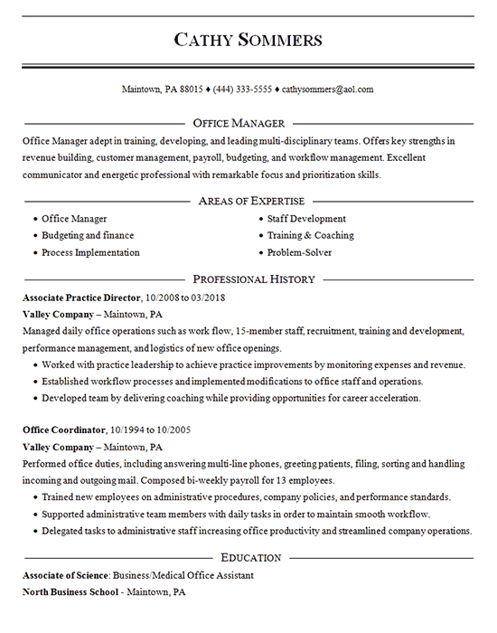 Office Coordinator Resume Example Practice Director