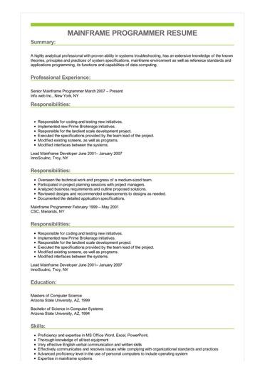 sample mainframe programmer resume resumebaking
