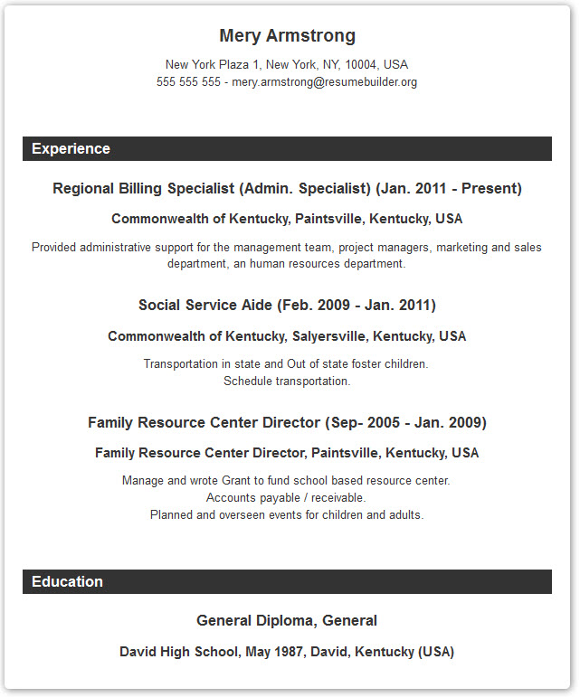 resume format builder with examples and templates - Formats Of Resume