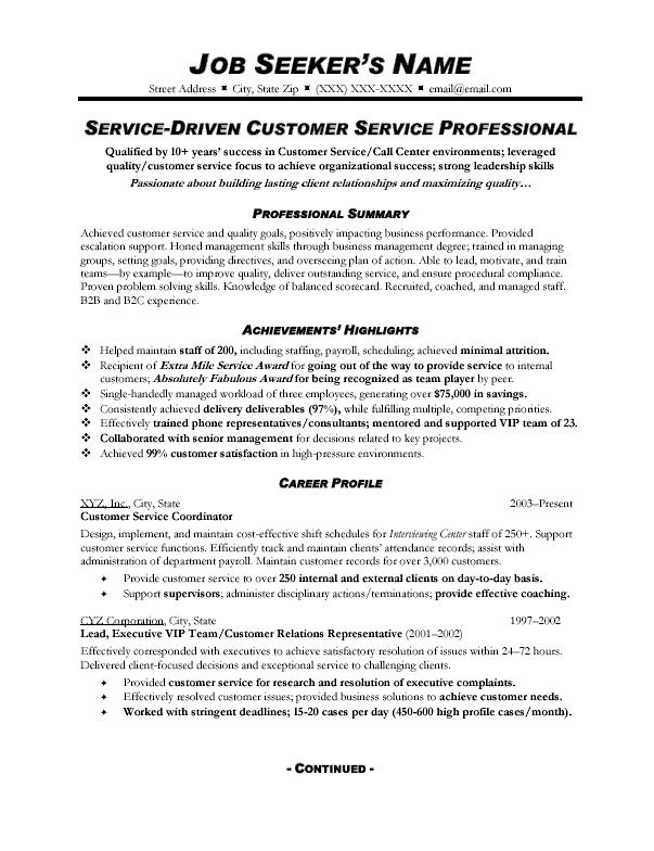professional statement resume