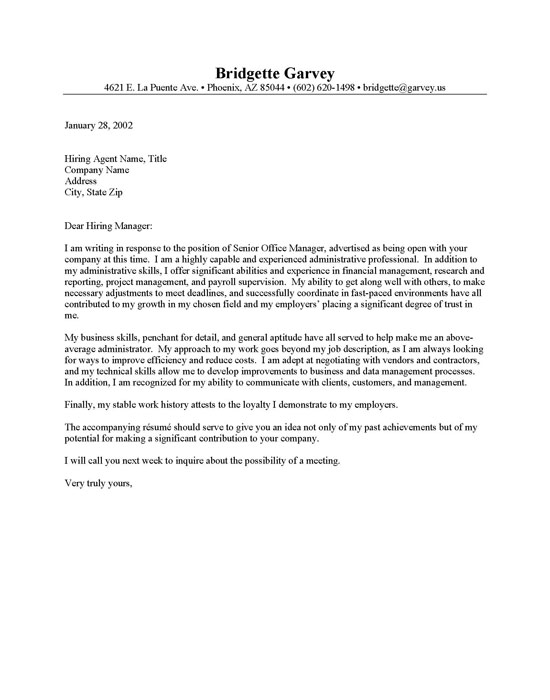 cover letter for administrative assistants - Adminstrative Assistant Cover Letter