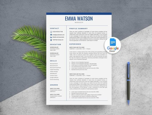 Blue Color Google Docs Resume Template