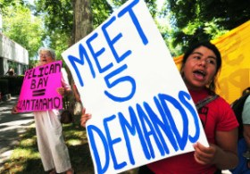 July 25, 2011 Families and supporters protest at the California Department of Corrections and Rehabilitation, calling for the CDCR to meet the demands of striking prisoners including ending long time solitary confinement, Photo: Bill Hackwell