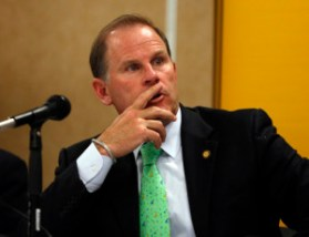 University of Missouri President Tim Wolfe participates in a news conference Friday, April 11, 2014, in Rolla, Mo. The news conference was held to discuss an outside legal review of the university's response to a case involving school swimmer Sasha Menu Courey, who killed herself 16 months after an alleged off-campus rape by as many as three football players in February 2010.  (AP Photo/Jeff Roberson) hs after an alleged off-campus rape by as many as three football players in February 2010.  (AP Photo/Jeff Roberson)