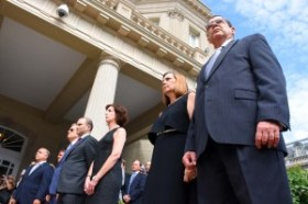July 20, 2015 - Josefina Vidal and Cuban Ambassador to the US Jose Ramon Cabañas stand with US officials at the opening of the Cuban Embassy in Washington.