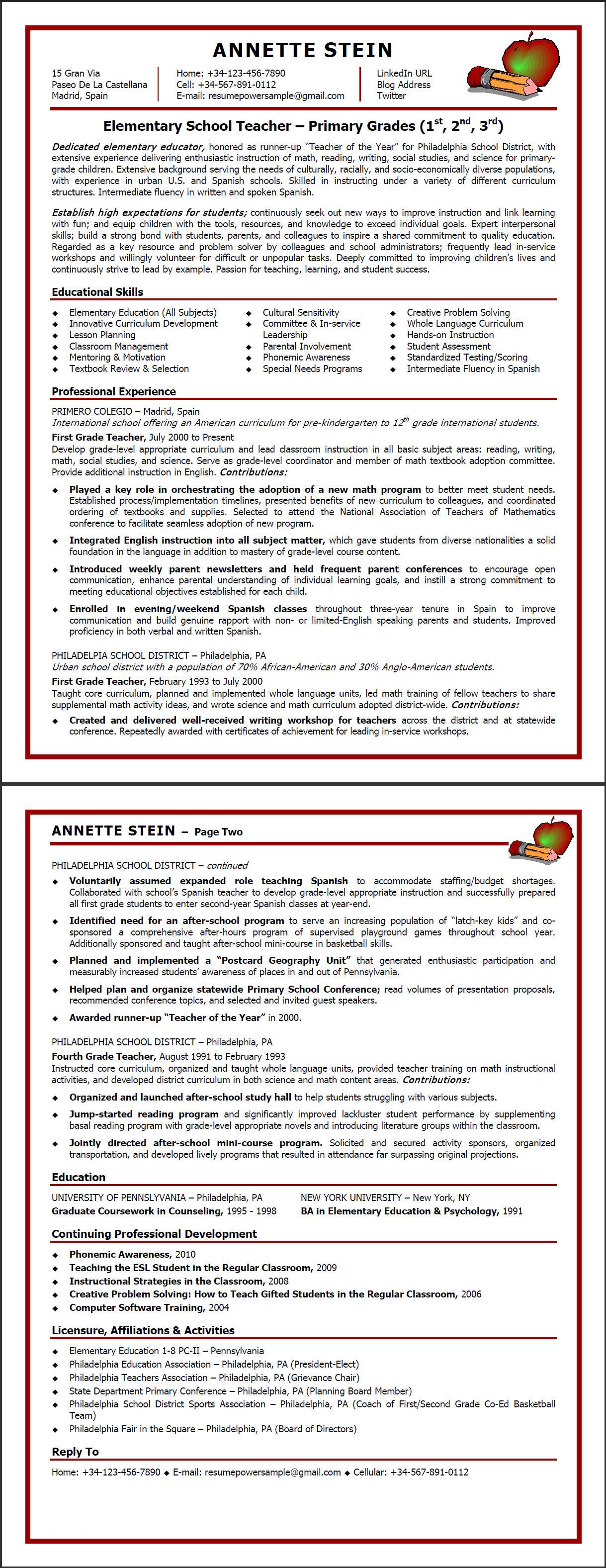 elementary school resumepower