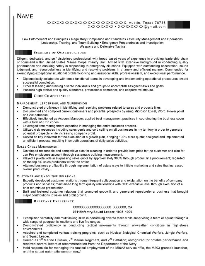 transition resume samples prime before infantry squad leader resume