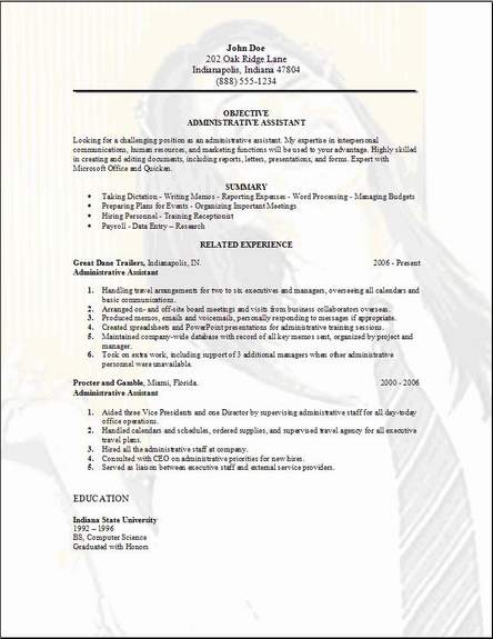 Assistant Cv Marketing Administrative Assistant Resume Sample