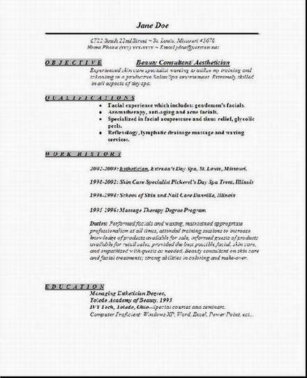 aesthetician resume1