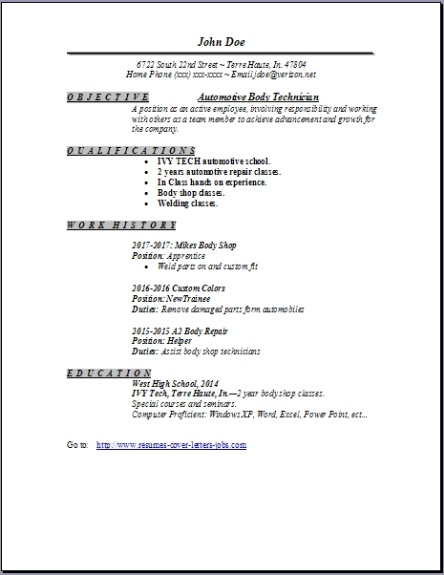Auto Body Technician Resume Occupationalexamples Samples Free Edit With Word