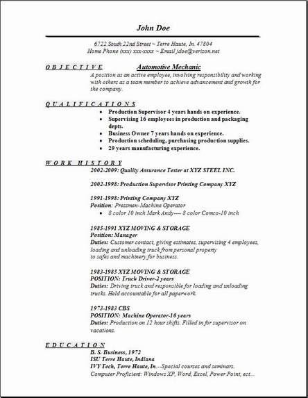 Auto Mechanic Resume Samples Resume Sample