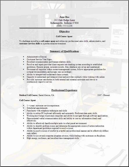 call center resume objective | Template