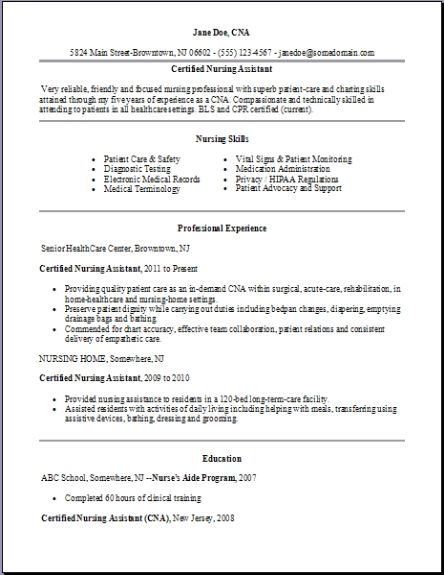 Certified Nursing Assistant Resumeexamplessamples Free Edit With Word