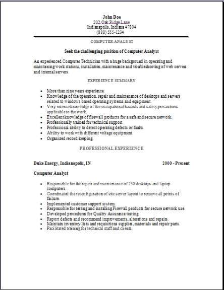 Computer Analyst Resume Occupationalexamples Samples Free Edit With Word
