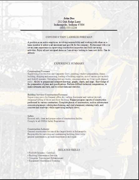 resume templates a i construction foreman construction foreman resume