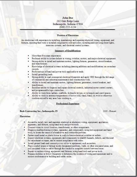 Electrician Resumes. Electrician Resume Format Residential
