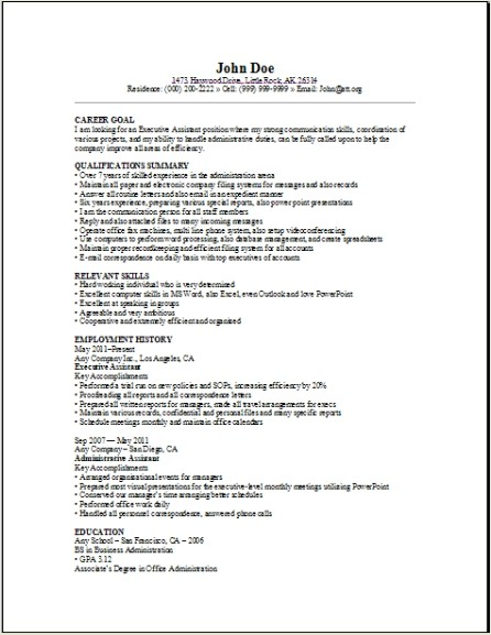 Executive Assistant Resume Sample Occupationalexamples Samples Free Edit With Word