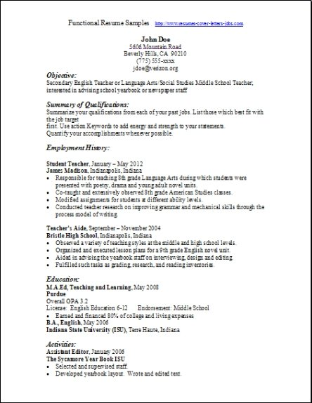 Functional Resume Template Pdf | Resume Format Download Pdf