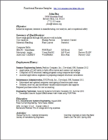 A Functional Resume example of a functional resume sc ate – Functional Resume Layout
