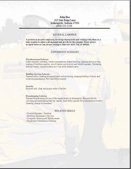 General Laborer Resume. labor resume skills laborer sample resume ...
