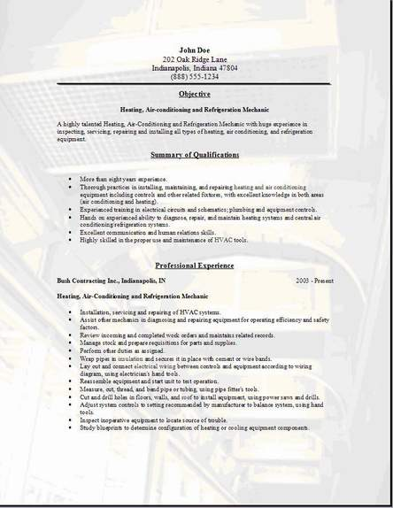 hvac resume cover letter examples