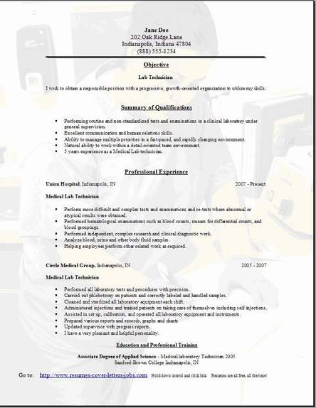 Quality Technician Resume Quality Resume Samples Medical Laboratory  Technician Resume Objectives Medical Laboratory Technician Resume Medical  Medical Laboratory Technician Resume