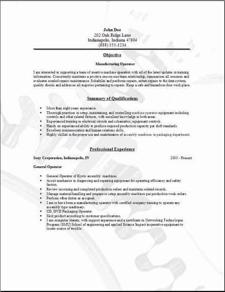 Resume For Factory Worker Example. job description job. 1275 x ...