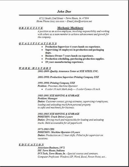 Resume For Mechanic Job mechanic machinery resume occupational examples samples free edit