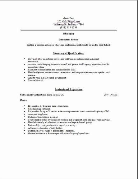 how to make a restaurant resume resume sample