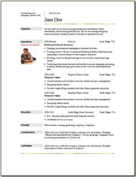personal trainer resume objective aerobics instructor resume ...