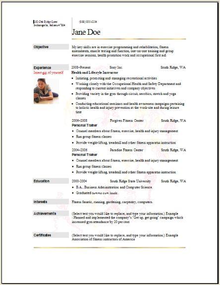 Sports Marketing Resume Examples. Fitness Resume Templates Sample
