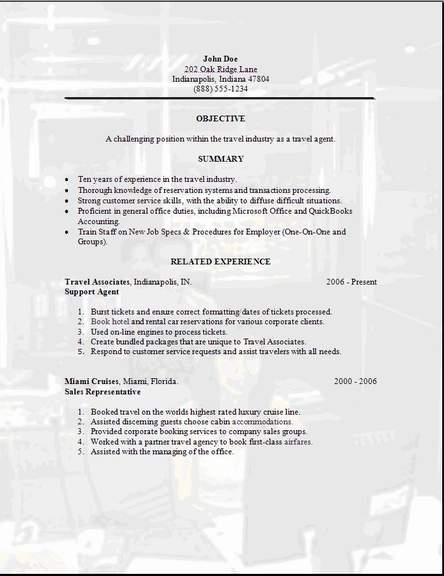 Travel Agency Resume Example. travel agent resume samples travel ...
