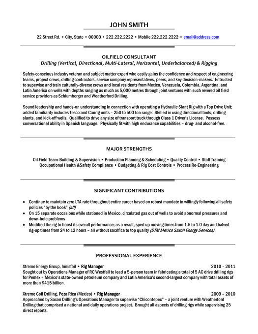 pre sales resume template oilfield consultant resume template