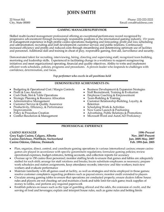 casino manager resume template premium resume samples amp example