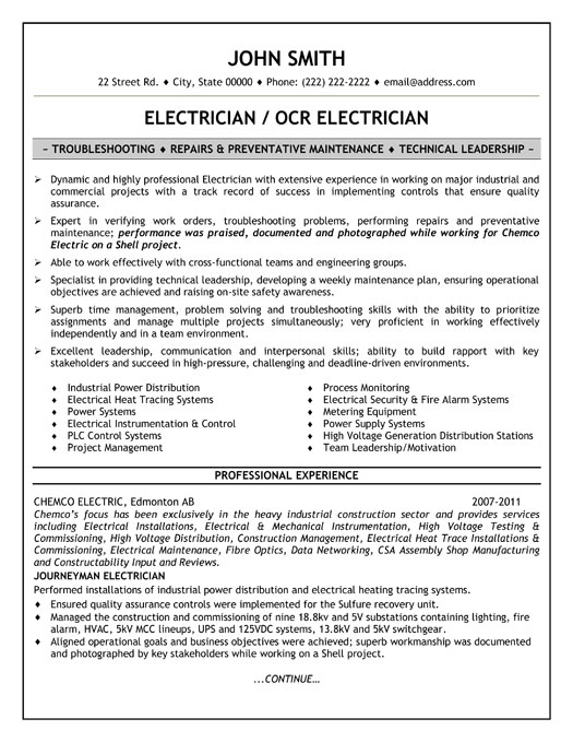 Apprentice Electrician Resume. apprentice electrician resume ...