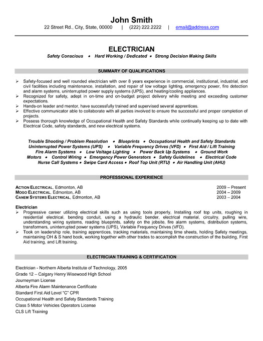 industrial electrician resume samples template