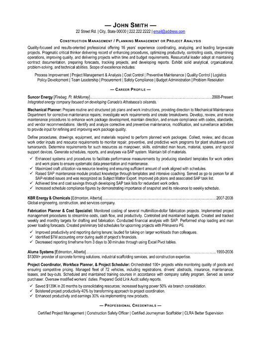 construction management resume sample resume design manager