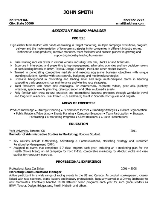 Resume Brand Manager. Cover Assistant Brand Manager Cover Letter