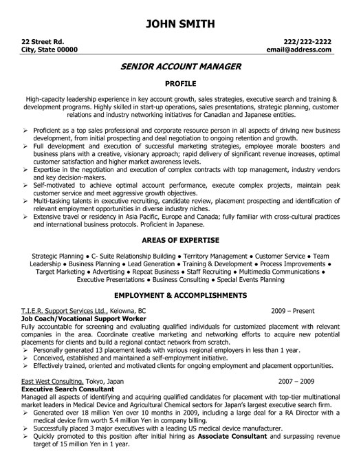 senior account manager resume template premium resume samples