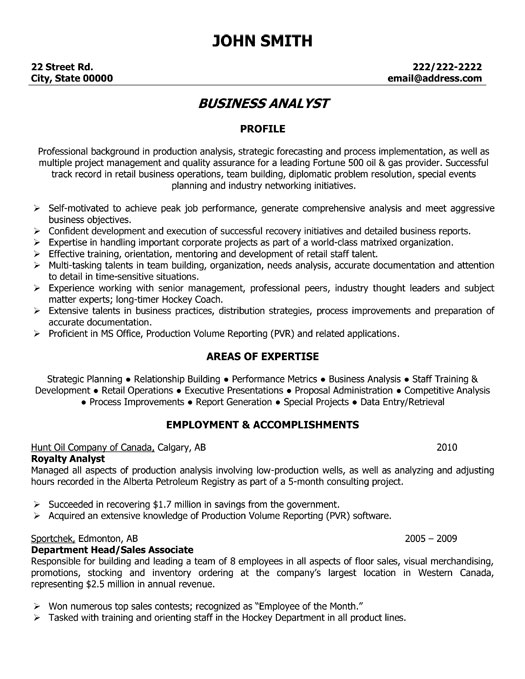 sample resume for it support analyst business strategy analyst