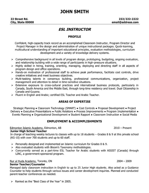 Resume Sle Korean English Teacher Esol Tutor Cover Letter 1000