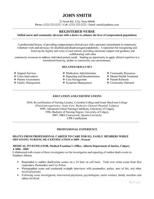 emergency room nurse resume