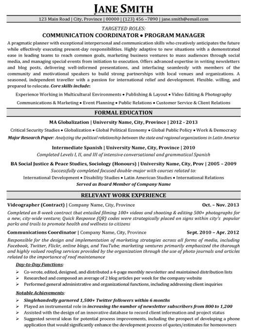 resume sample project manager resume objective sample program